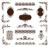 Vintage set of ornaments and stickers. Vector labels, stickers, borders and corners of the frame. Black vintage ornament on white background. Patterned elements Royalty Free Stock Image