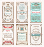 Vintage set retro cards. Template greeting card wedding invitation. Line calligraphic frames Royalty Free Stock Photo