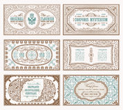 Vintage set retro cards. Template greeting card wedding invitation. Line calligraphic frames Royalty Free Stock Image