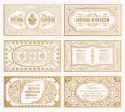 Vintage set retro cards. Template greeting card wedding invitation. Line calligraphic frames Stock Photos