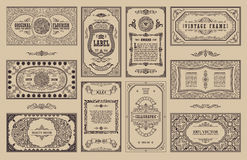 Vintage set retro cards. Template greeting card wedding invitation. Line calligraphic frames Royalty Free Stock Images
