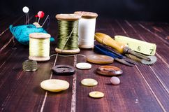 Vintage set of sewing tool Stock Photography