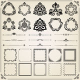 Vintage Set of Square, Round and Horizontal Elements Stock Photos