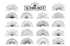 Vintage set sunburst Stock Images