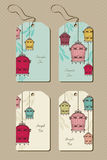 Vintage set of tags with birdcages Royalty Free Stock Image