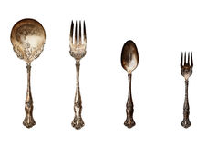 Vintage set of tarnished silverware Royalty Free Stock Photography