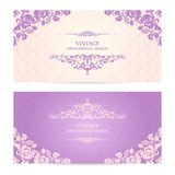 Vintage set of template ornamental borders and patterned background. Elegant lace wedding invitation design Greeting Card, banner. Vintage set of template royalty free illustration