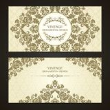 Vintage set of template ornamental borders and patterned background. Elegant lace wedding invitation design, Greeting Card, banner royalty free illustration