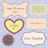 Vintage set of thanksgiving banners and simple pattern Royalty Free Stock Photo