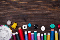 Vintage set of threads, scissors and buttons Stock Photos