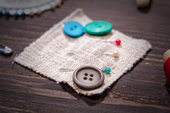 Vintage set of threads, scissors and buttons Royalty Free Stock Photography