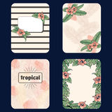 Vintage set of tropical backgrounds Stock Photo