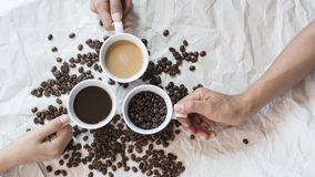 Vintage Set up shot of black coffee with milk. Vintage Set up shot of black coffee with milk Royalty Free Stock Photography