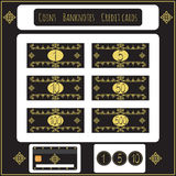 Vintage Set of vector banknotes, coins, credit cards, for toy store games. Isolated on black. Money for playing shop, market, mark Stock Photography