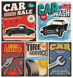 Vintage set of vector cars for advertising Royalty Free Stock Photos