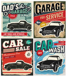 Vintage set of vector cars for advertising Stock Photos