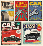 Vintage set of vector cars for advertising Stock Photo