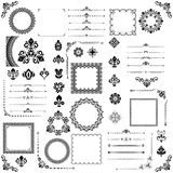 Vintage Set of Vector Horizontal, Square and Round Elements. Vintage set of vector horizontal, square and round black elements. Different elements for design Stock Images