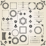 Vintage Set of Vector Horizontal, Square and Round Elements Royalty Free Stock Image
