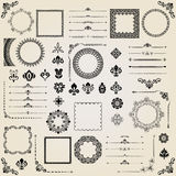 Vintage Set of Vector Horizontal, Square and Round Elements Royalty Free Stock Images