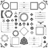 Vintage Set of Vector Horizontal, Square and Round Elements. Different elements for decoration, frames, cards, menus, backgrounds and monograms. Classic Stock Photography