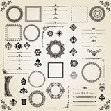 Vintage Set of Vector Horizontal, Square and Round Elements. Different elements for decoration design, frames, cards, menus, backgrounds and monograms. Classic Royalty Free Stock Image