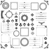 Vintage Set of Vector Horizontal, Square and Round Elements. Black elements for decoration design, frames, cards, menus, backgrounds and monograms. Classic Stock Images