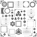 Vintage Set of Vector Horizontal, Square and Round Elements. Different elements for decoration design, frames, cards, menus, backgrounds and monograms. Set of Royalty Free Stock Photo