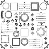 Vintage Set of Vector Horizontal, Square and Round Elements. Different elements for design, frames, cards, menus, backgrounds and monograms. Classic patterns Stock Photo