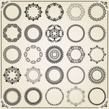 Vintage Set of Vector Round Elements. Different elements for decoration and design frames, cards, menus, backgrounds and monograms. Classic patterns. Set of Royalty Free Stock Photos