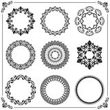 Vintage Set of Vector Round Elements. Different elements for decoration and design frames, cards, menus, backgrounds and monograms. Classic patterns. Set of Royalty Free Stock Image