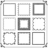 Vintage Set of Vector Square Elements. Vintage set of vector elements. Different square elements for decoration and design frames, cards, menus, backgrounds and Stock Image