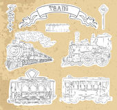 Vintage set with vintge train and railway theme Royalty Free Stock Images
