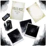 Vintage set of watercolor old photographic paper. Grunge corners. Vector design elements on white background stock illustration