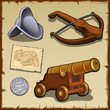 Vintage set of weapons and strategic items Royalty Free Stock Photos