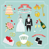 Vintage set for wedding invitation . Cute design elements Stock Image