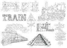 Vintage Set With Locomotive, Trains And Railway Theme Stock Images