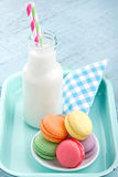 Vintage setting of colorful pastel macaroons Royalty Free Stock Photography