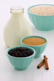 Vintage setting oatmeal ingredients Royalty Free Stock Photo