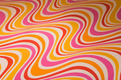 Vintage seventies wallpaper paper pattern yellow red orange pink Stock Photos