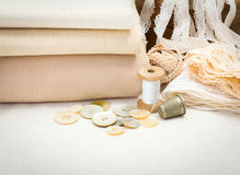 Vintage sewing craft items Royalty Free Stock Photos