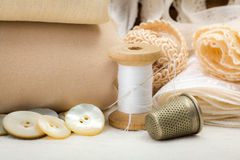 Vintage sewing craft items Royalty Free Stock Image