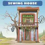 Vintage sewing house in the wild West series card Royalty Free Stock Photo