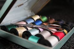 Vintage sewing kit stock photos