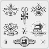 Vintage sewing labels, badges and design elements. Set of Tailor Shop emblems. Vector stock illustration