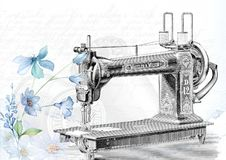 Vintage, Sewing, Machine, Sew Stock Image