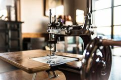 Vintage sewing machine. 18th Century Home Handwork Vintage Sewing Machine Royalty Free Stock Photo