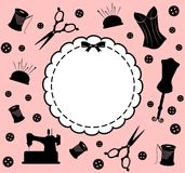 Vintage sewing related elements Royalty Free Stock Photo