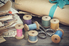 Vintage sewing supplies Stock Images