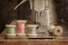 Vintage sewing thread. On sewing machine royalty free stock images
